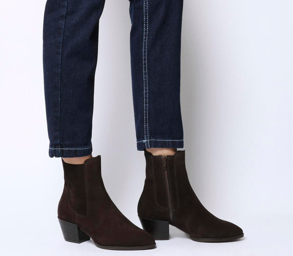 Womens Office Acclaim Chelsea Boot With Feature Western Heel Choc Suede