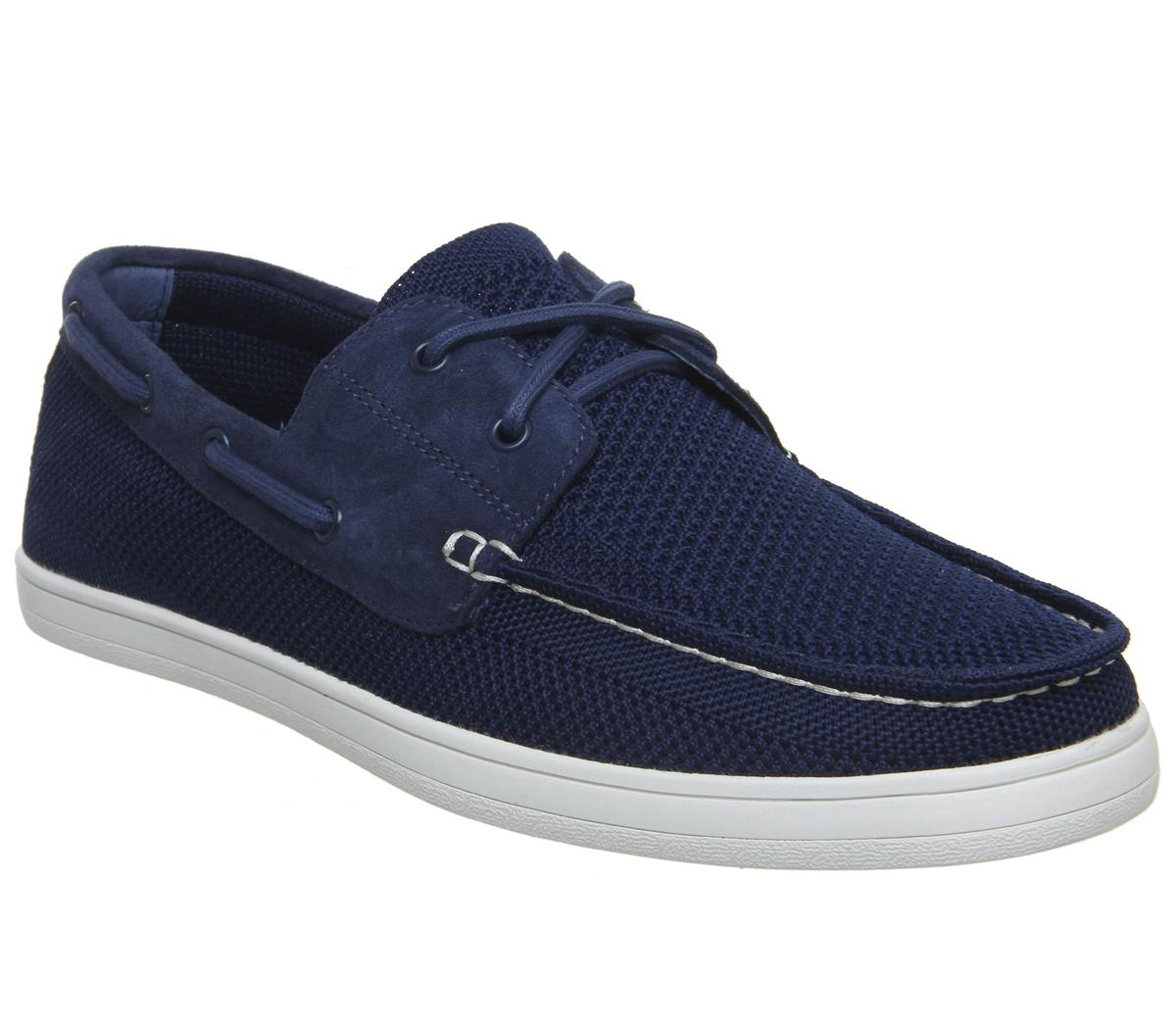 Mens Office Life Boat Shoe Navy Knit Suede