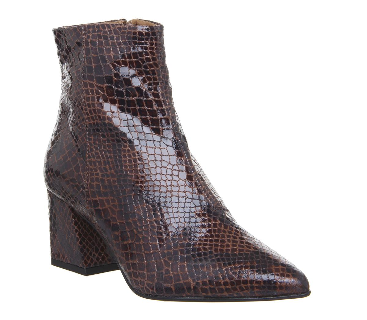 Womens Office Awaken Block Heel Ankle Boot Brown Snake Leather