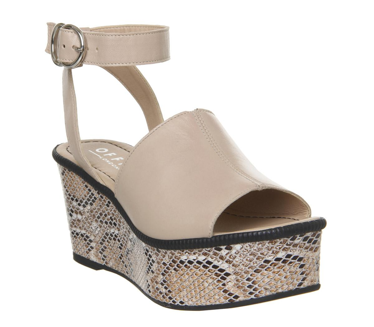 Womens Office Money Honey Leather Wedge Nude Snake Leather