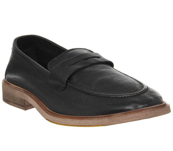 Mens Office Lazy Penny Loafer Black Leather