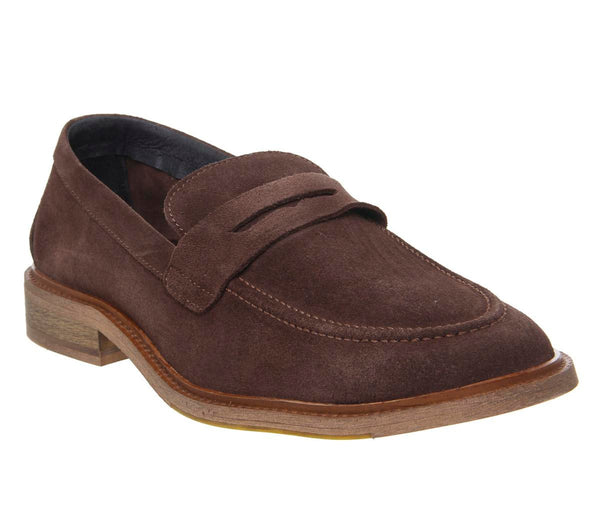 Mens Office Lazy Penny Loafer Choc Suede Uk Size 10
