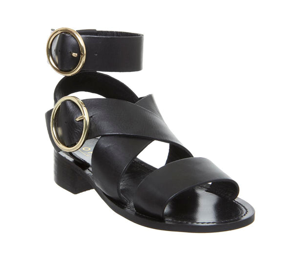 Womens Office Stormy Double Buckle Sandal Black Leather