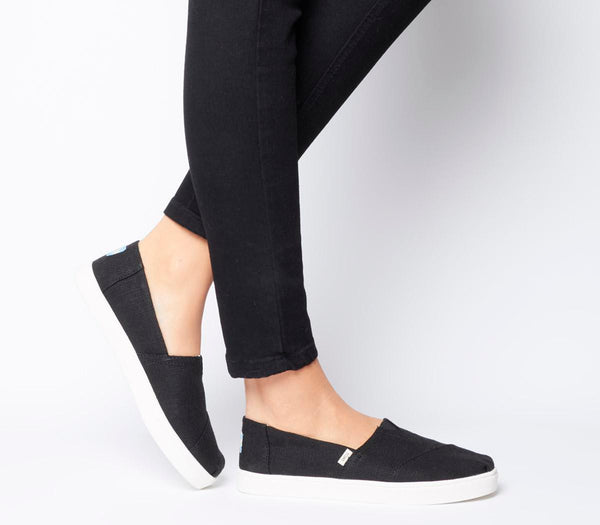 Odd sizes - Womens Toms Alpargata Cupsole Shoes Black Heritage UK Sizes R5/L6