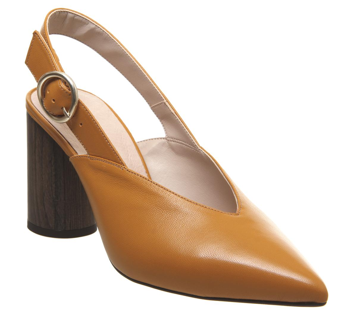 Womens Office Mina Cylindrical Sling Back Mustard Leather