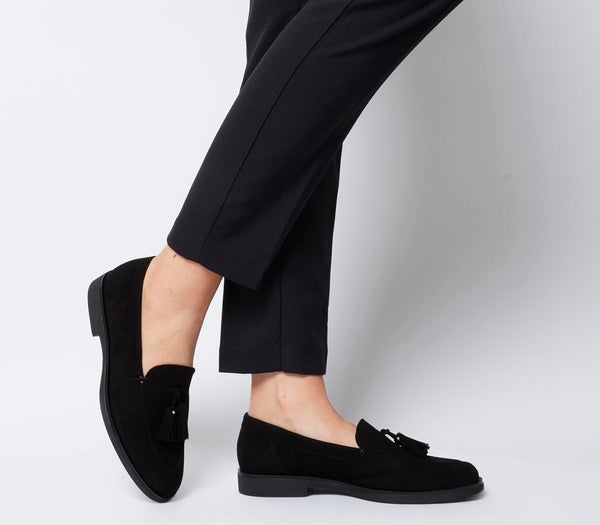 Womens Office Fair Tassel Loafer Black Suede