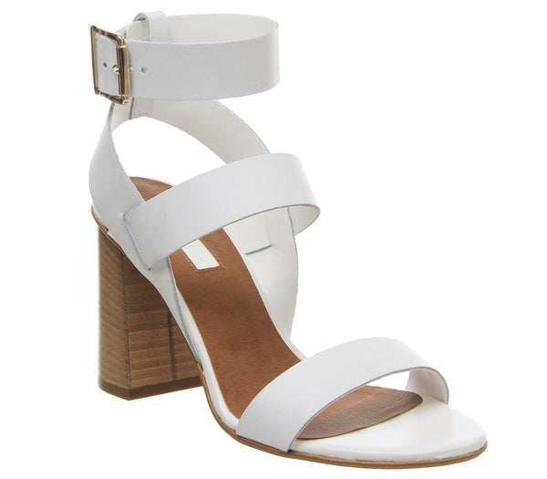 Womens Office Hanny Triple Strap Block Off White Leather