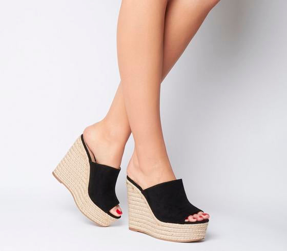 Womens Office Happening Mule Espadrille Black