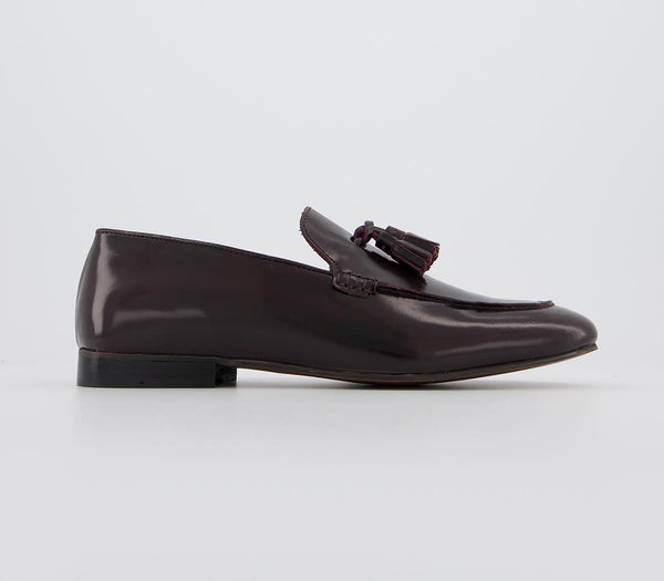 Mens Hudson Bolton Tassel Loafer Bordo High Shine