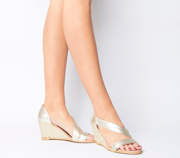 Womens Office Maid Asymmetric Wedge Gold Leather Uk Size 6