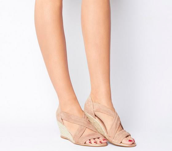 Womens Office Maiden Wedge With Metallic Rand Nude Suede With Rose Gold Rand
