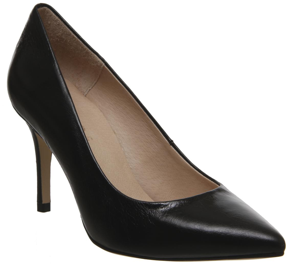 Womens Office Mix Court Shoe Black Leather