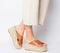 Womens Office Miraculous Cross Vamp Espadrille Mule Tan Leather