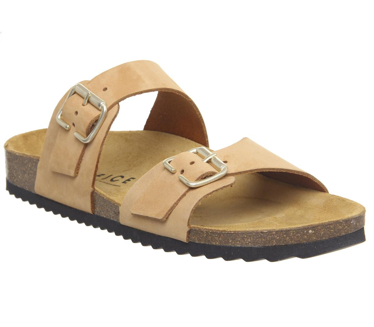 Womens Office Stride Double Buckle Footbed Nude Nubuck