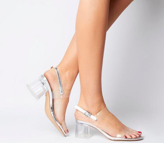 Womens Office OMerciful Clear Sandal Silver