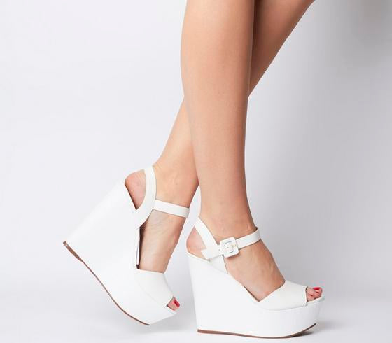 Womens Office Helen Two Part Wedge White Leather
