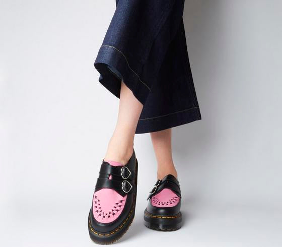 Womens Dr.Martens Buckle Creeper Lazy Oaf Black Pink
