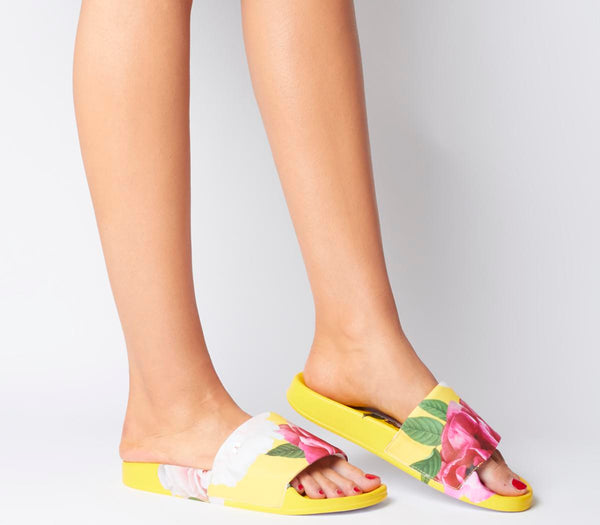 Odd sizes - Womens Ted Baker Avelini Slides Magnificent Yellow UK Sizes R4/L5
