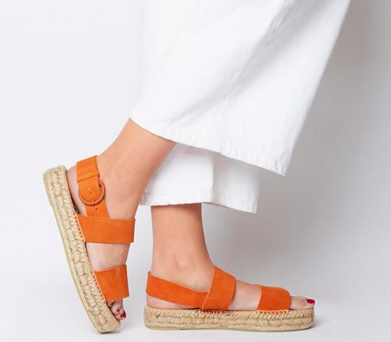 Womens Office Sunray Two Part Espadrille Orange Suede