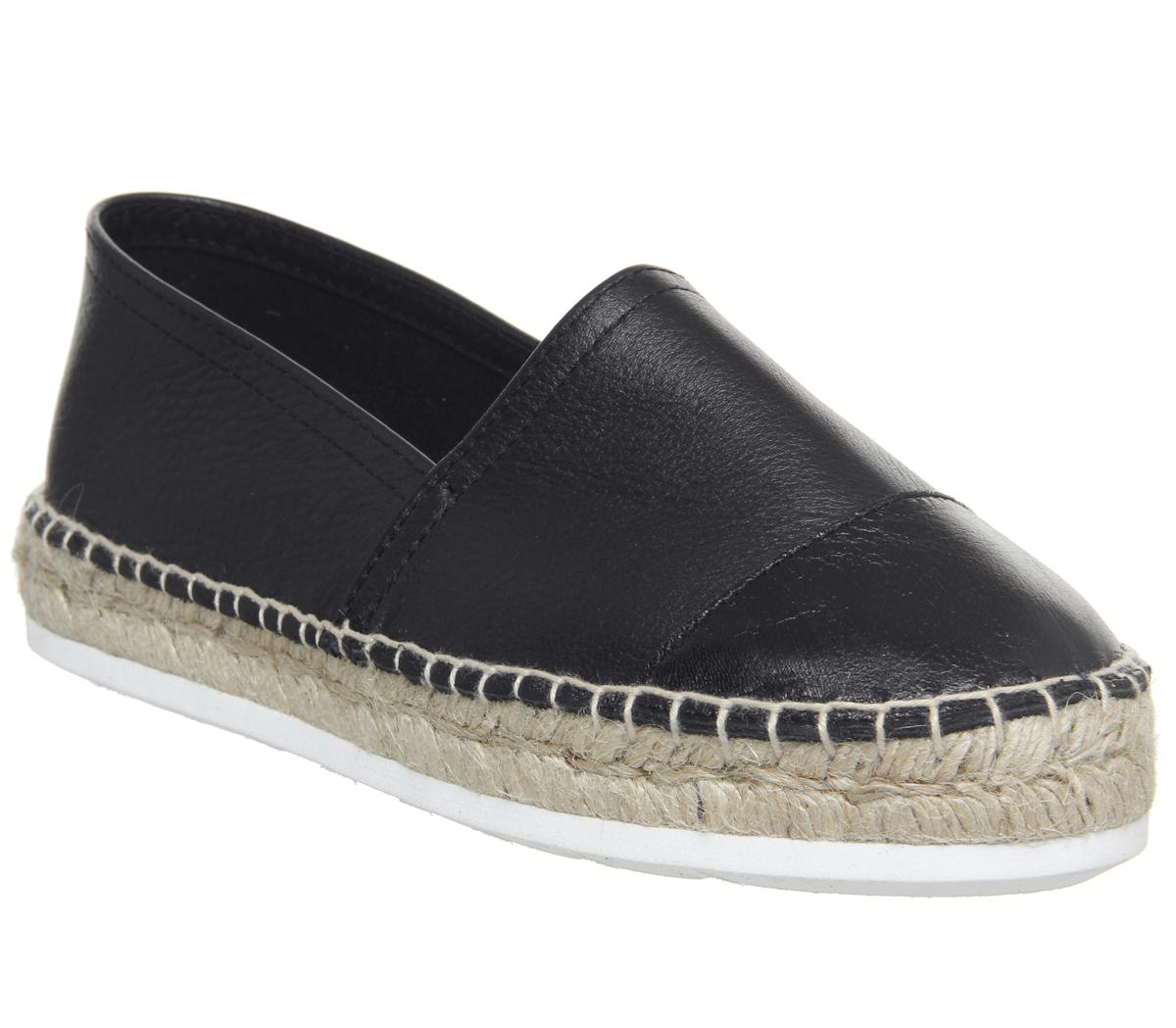 Womens Office Follower Toe Cap Espadrille With Eva Outsole Black Leather