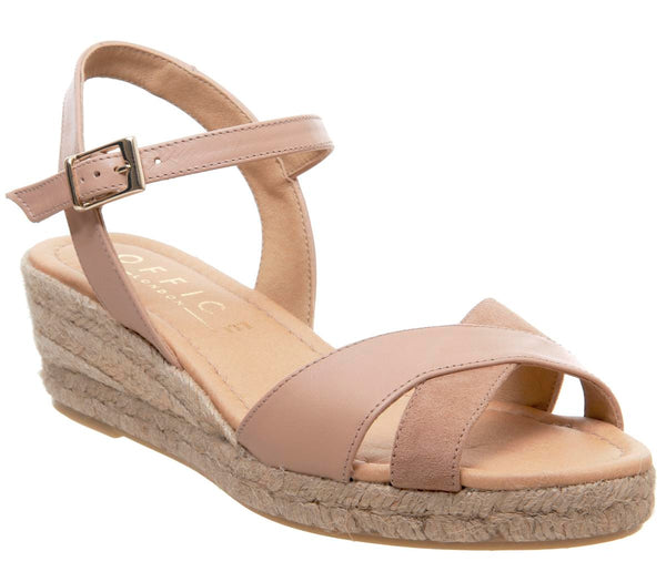 Womens Office Motivate Slim Wedge Espadrille Nude Suede Mix