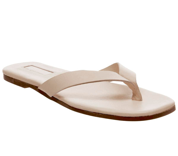 Womens Office Stream Toe Post Sandal Off White Leather