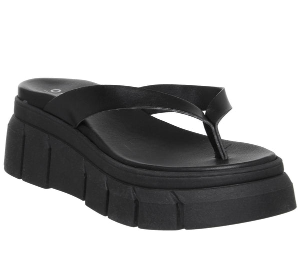 Womens Office major Chunky Toe Post Sandal Black Leather
