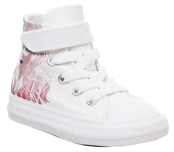 Kids Converse All Star Hi 1vlace White Multi Elsa Frozen Trainers