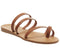 Womens Office Serene Toe Loop Mule Sandal Tan Leather