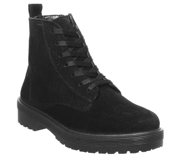 Womens Office Ally Lace Up Boot Black Suede
