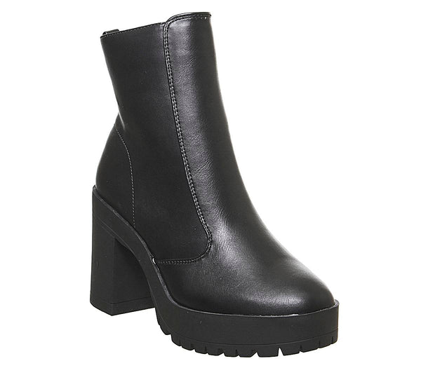 Womens Office Agility Cleated Heel Boot Black