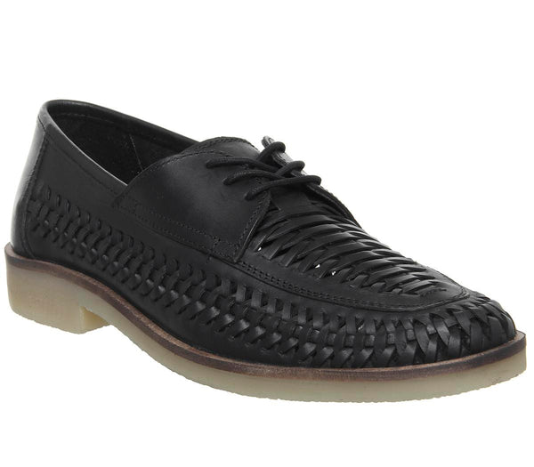 Mens Office Leamouth Lace Up Woven Black Washed Leather