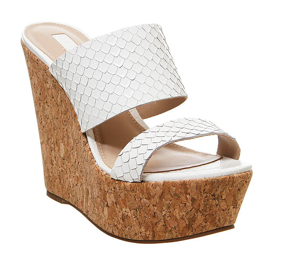 Womens Office Humidity Glam Cork Wedge White Scale Leather