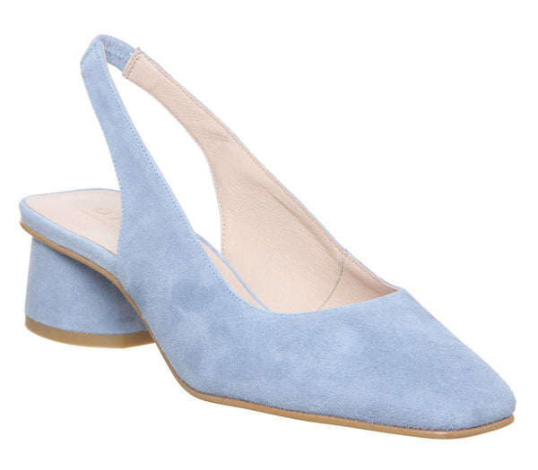 Womens Office Manners Slingback Court Pale Blue Suede