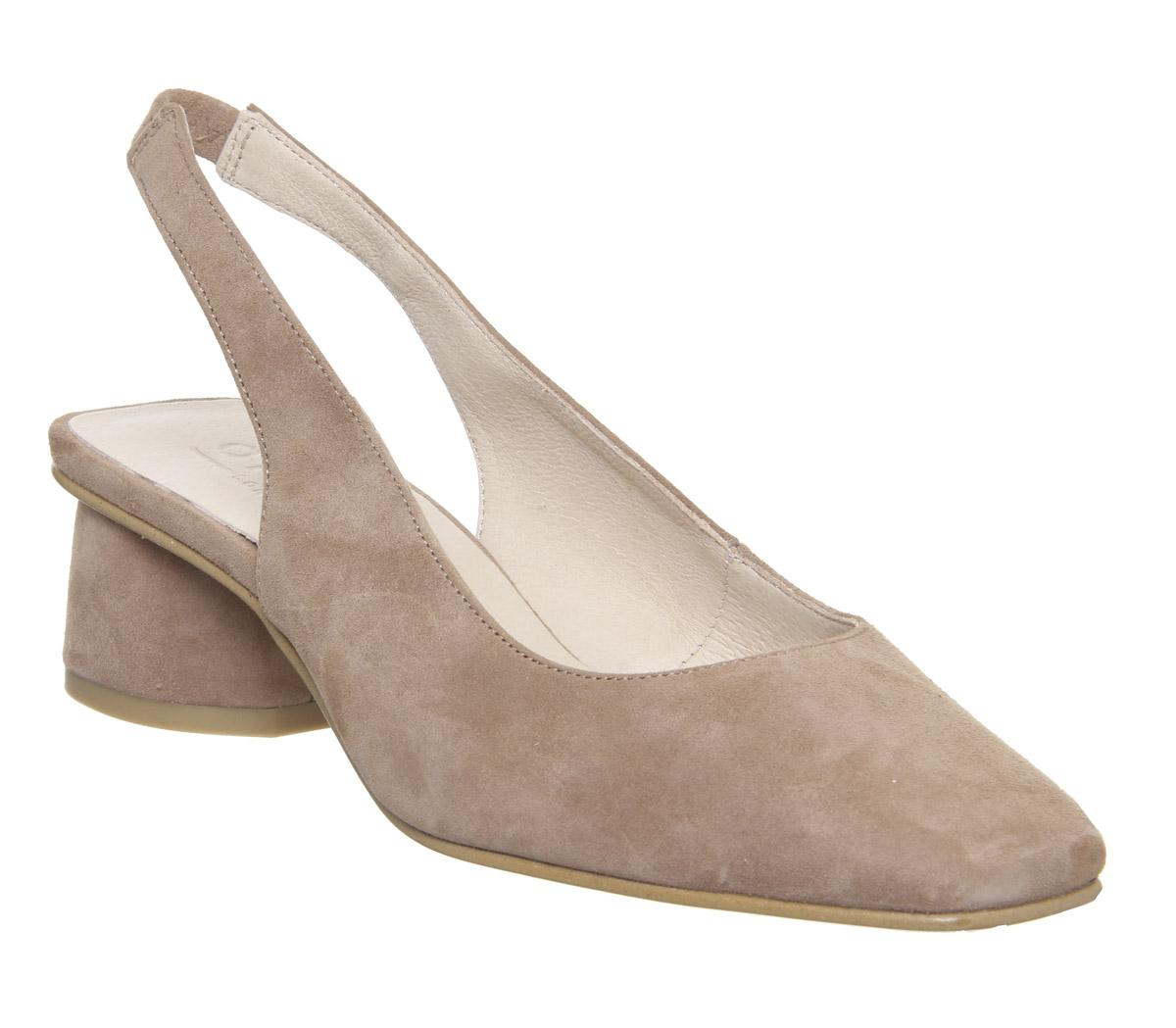 Womens Office Manners Slingback Court Nude Suede
