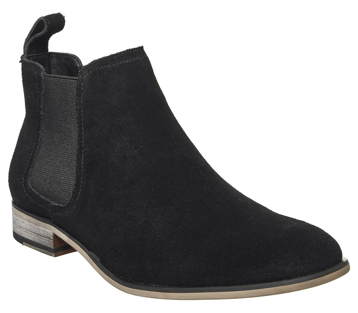 Mens Office Barkley Chelsea Boot Black Suede