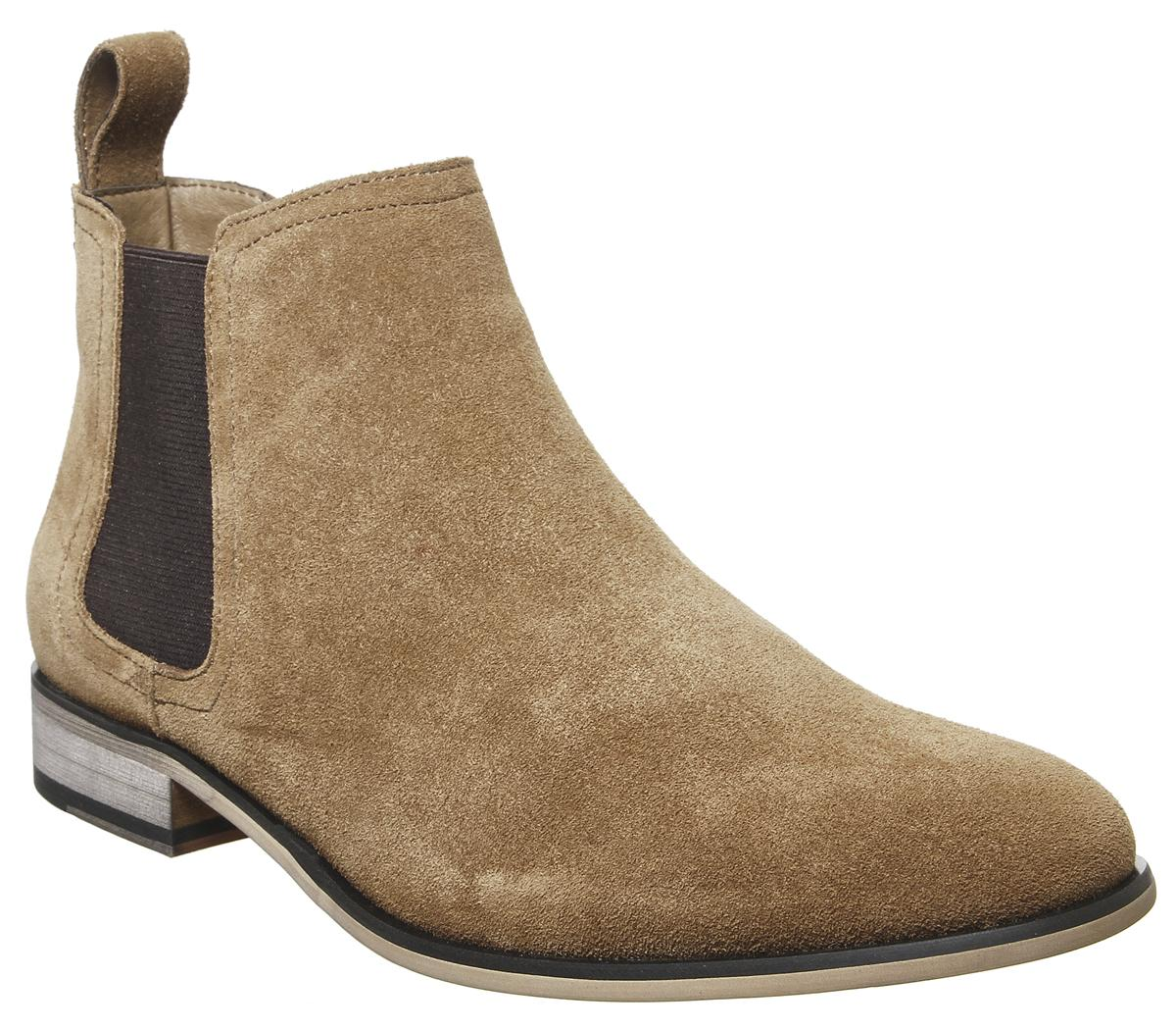 Mens Office Barkley Chelsea Boot Tan Suede