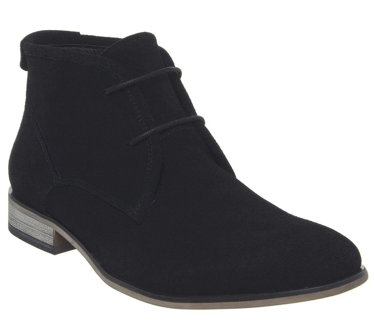 Mens Office Barker Chukka Boot Black Suede