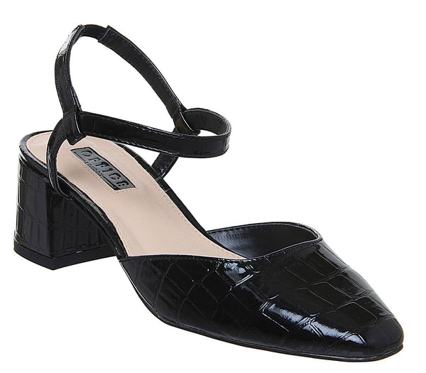 Womens Office Miss You Square Toe Block Sandal Black Patent Croc