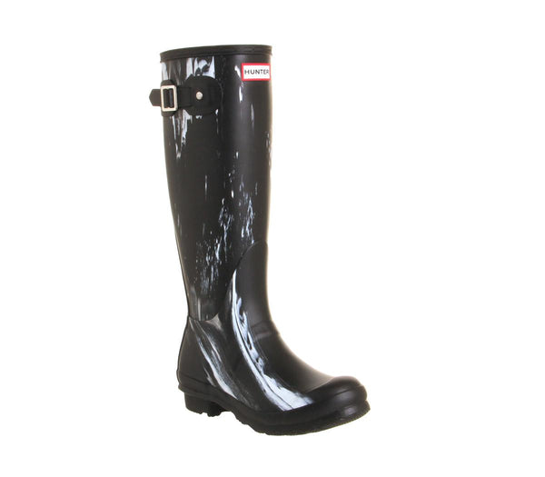 Womens Hunter Original Welly Nightfall Black White