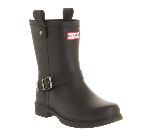 Womens Hunter Shoreditch Biker Welly Black Rubber