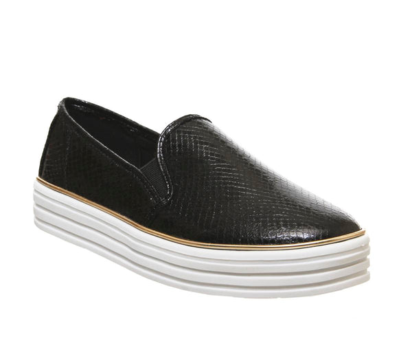 Womens Office Feel Good Slip On Trainer Black Snake Uk Size 4