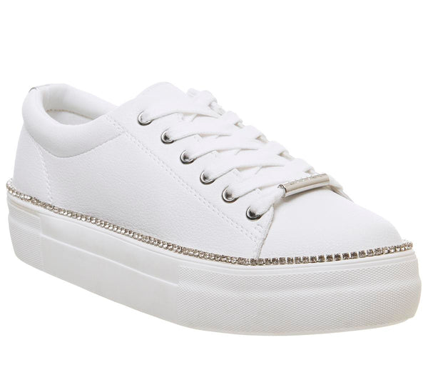 Womens Office Further Flatform Trainer White W Diamante Rand Uk Size 6