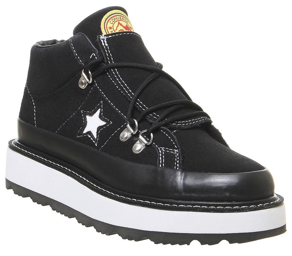 Womens Converse One Star Fleece Lined Boot Black White Black Uk Size 4