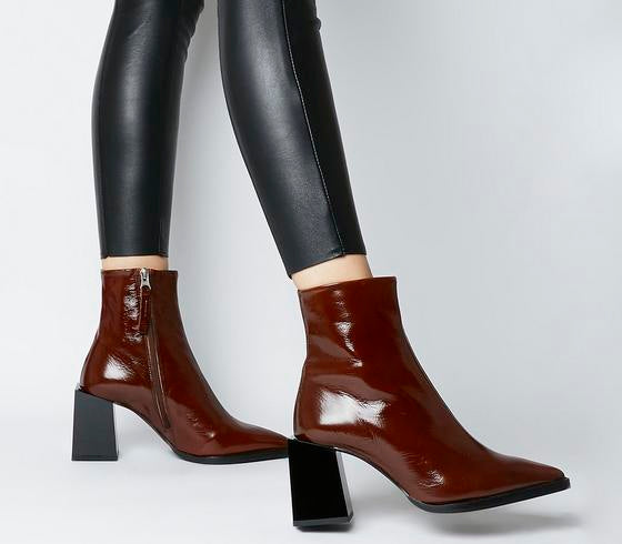 Womens Office Axis Extended Heel Pointed Boot Brown Patent Leather