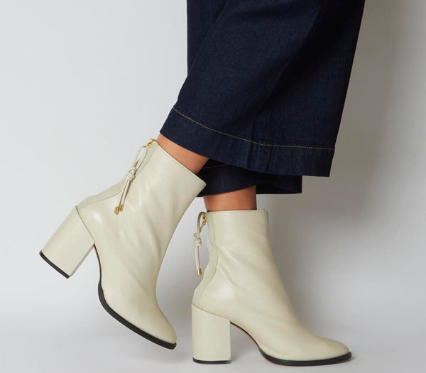 Womens Office Attribute Back Zip Block Heel Off White Leather