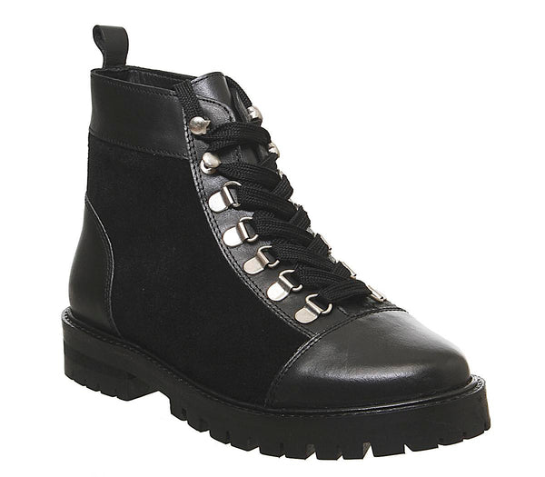 Womens Office Antics  Low Hiker Boot Black Leather Suede Mix