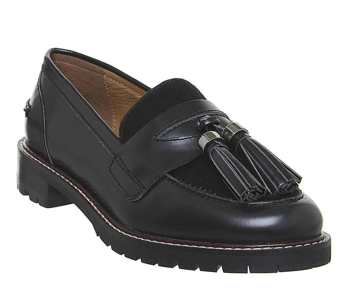 Womens Office Frame Tassel Loafer Black Box Leather W Black Pony