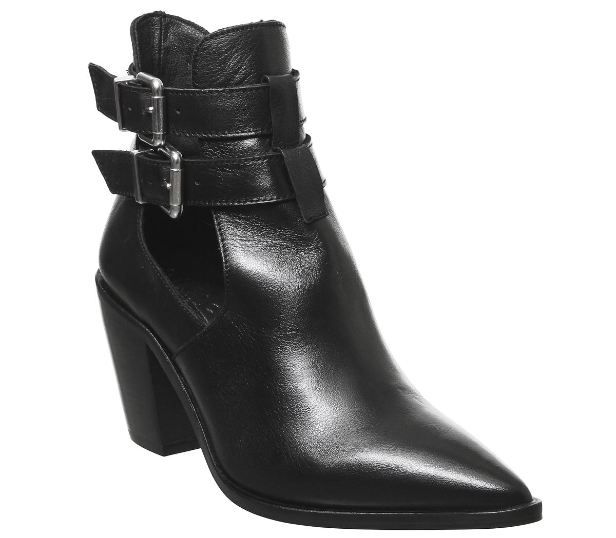 Womens Office Armada Cut Out Western Boot Black Leather