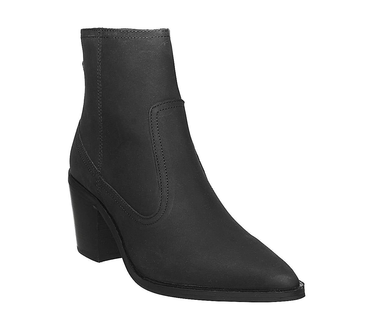 Womens Office Anais Pointed Western Boot Black Nubuck